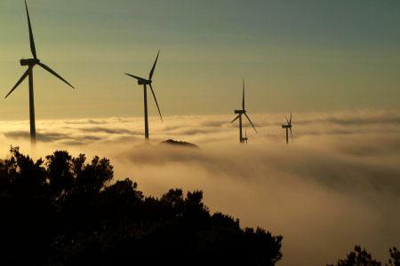 Parque eólico de Penouta en el Occidente de Asturias